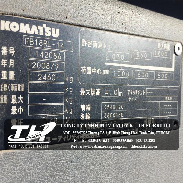 Xe nâng điện đứng lái Komatsu FB18RL-14 name plate
