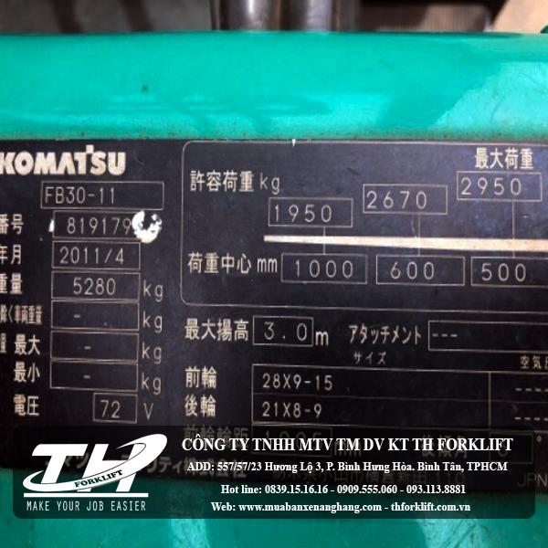 Xe nâng điện Komatsu FB30-11-4